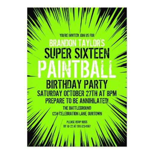 16 invitaciones estupendas del fiesta de Paintball Invitaciones Personalizada