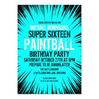 16 invitaciones estupendas del fiesta de Paintball Invitación 12,7 X 17,8 Cm