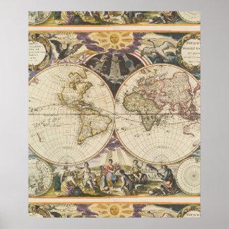 1702 un nuevo mapa del mundo póster
