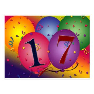 ¡17 años!  Globos del cumpleaños Tarjeta Postal