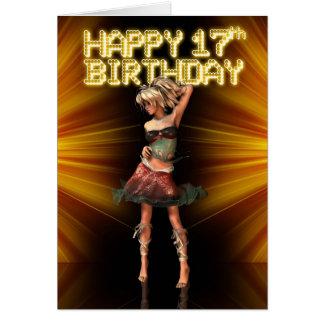 17ma estrella feliz del adolescente del cumpleaños felicitacion