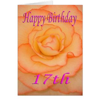 17ma flor feliz del cumpleaños tarjeta de felicitación
