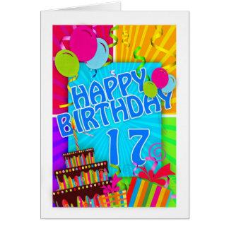 17ma tarjeta de cumpleaños brillante y colorida -
