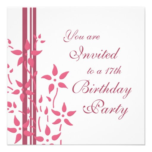 17mas invitaciones florales de la fiesta de cumple comunicado personalizado
