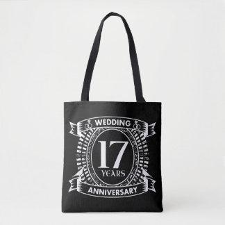 17mo aniversario de boda blanco y negro bolso de tela
