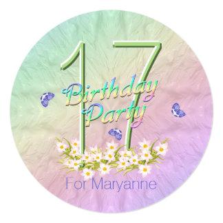 17mo Arco iris y mariposas de la fiesta de Invitación 13,3 Cm X 13,3cm