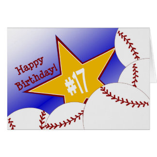 ¡17mo cumpleaños feliz! Aficionado al béisbol Tarjeta De Felicitación