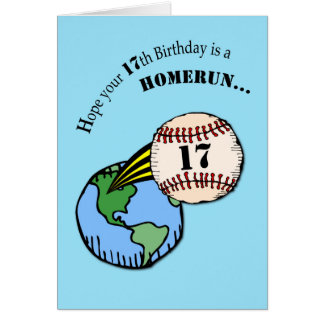 17mo Home run del béisbol del cumpleaños Tarjeta De Felicitación
