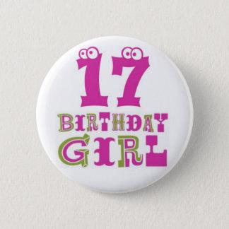 17mo Insignia del botón del chica del cumpleaños