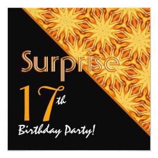 17mo Negro del cumpleaños de la sorpresa y Invitación 13,3 Cm X 13,3cm