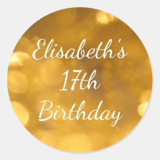 17mo pegatina de oro del cumpleaños