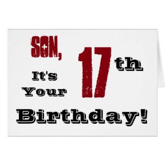 17mo saludo del cumpleaños del hijo en negro, tarjeton