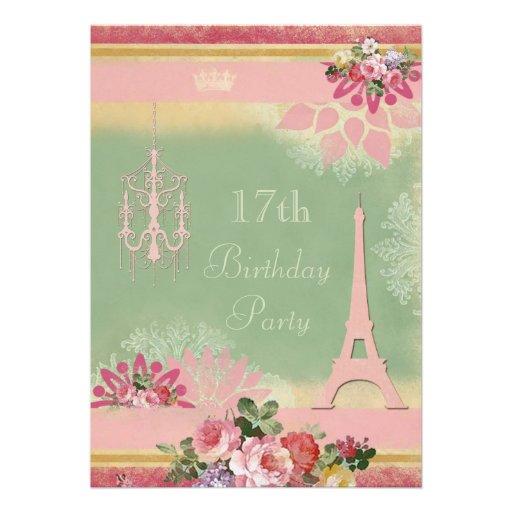17mo Torre Eiffel y lámpara rosadas del cumpleaños Comunicados Personalizados