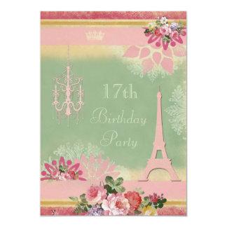 17mo Torre Eiffel y lámpara rosadas del cumpleaños Invitación 12,7 X 17,8 Cm