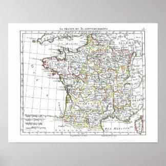 1806 mapa - en 32 Gouvernements de Francia del La Póster