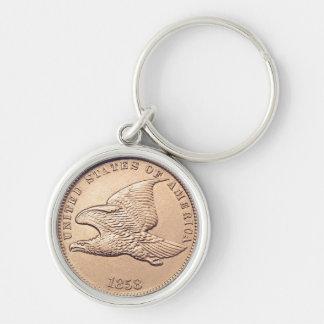 1858 centavos raro de Eagle que vuelan Llavero Redondo Plateado