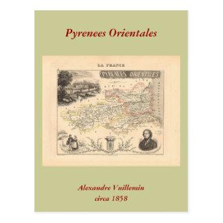 1858 mapa del departamento de los Pirineos Orienta Tarjeta Postal
