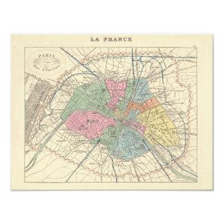 1858 mapa d'Enceinte de la MUR de París y del hijo Invitación 10,8 X 13,9 Cm
