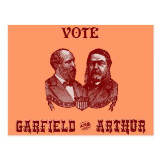 1880 voto Garfield y Arturo, rojos Postal