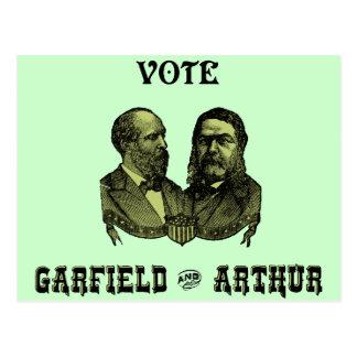 1880 voto Garfield y Arturo, verdes Postal