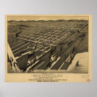 1887 superior del oeste, mapa panorámico del ojo d posters