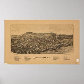 1890 Cooperstown, mapa panorámico de la opinión de Poster