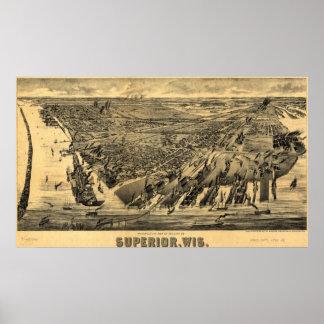 1890 superior, mapa panorámico de la opinión del o impresiones