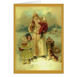 1890s del navidad del Victorian de Papá Noel del Tarjeta De Felicitación