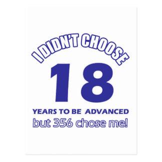 18 años de adelanto tarjeta postal