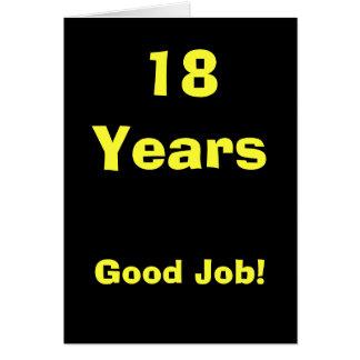 ¡18 años de buen trabajo! tarjeta de felicitación
