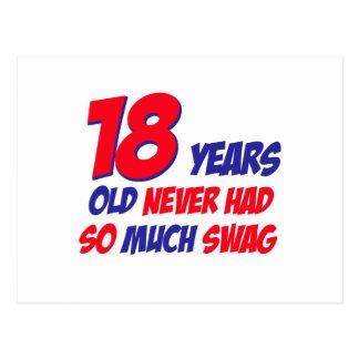 18 años de diseño del cumpleaños postal