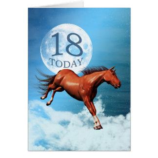 18 años de la tarjeta de cumpleaños con el caballo