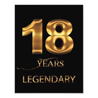 18 años de tarjeta legendaria invitación 10,8 x 13,9 cm