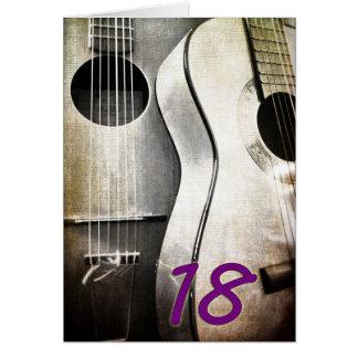 18 con una guitarra tarjeta de felicitación