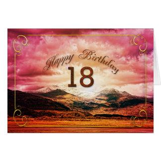 18 cumpleaños, puesta del sol sobre las montañas tarjeta de felicitación