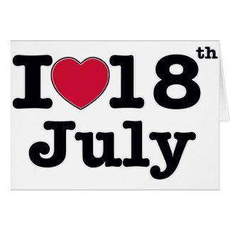 18 de julio mi cumpleaños del día tarjeta de felicitación