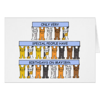 18 de mayo gatos del cumpleaños tarjeta