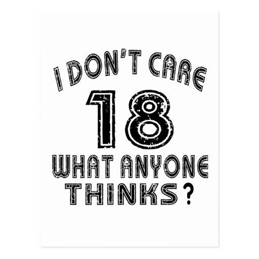 18 no cuidan diseños del cumpleaños postal