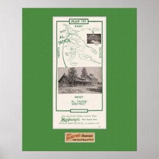 1914 mapa del área de Tahoe, Al Tahoe Poster