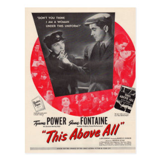 1942 este sobre todo cartel de película tarjeta postal