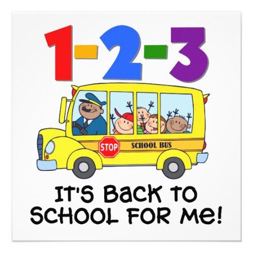 1-2-3 de nuevo a escuela invitaciones personales