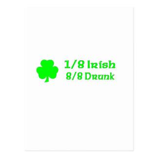1/8 irlandés 8/8 borracho tarjeta postal