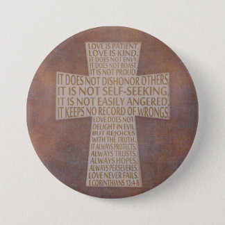 1 botón rústico de la cruz del capítulo del amor