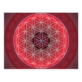 1 flor de Chakra de rojo de la vida Postal