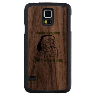 1 Ho Ho Ho humor del día de fiesta 900 Funda De Galaxy S5 Slim Nogal