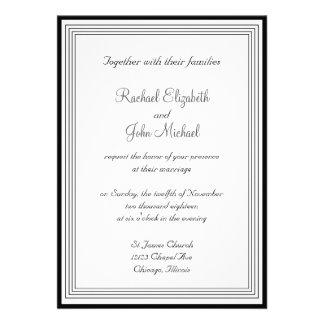 1 invitación blanco y negro del boda