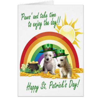1. La tarjeta de Westie de St Patrick adorable de