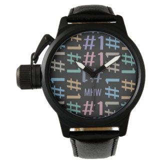 """""""# 1"""" relojes de encargo del monograma del modelo"""