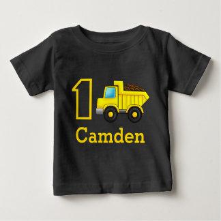 1r 2do 3ro coche del camión de la construcción del camiseta de bebé