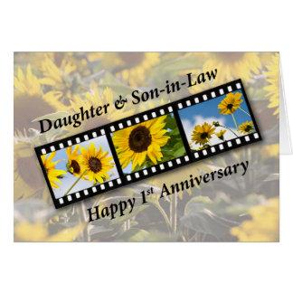 1r aniversario de boda de la hija y del yerno Sunf Tarjeta De Felicitación